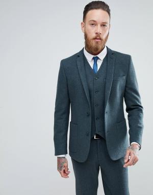 ASOS Сине-зеленый пиджак зауженного кроя с добавлением шерсти. Цвет: зеленый
