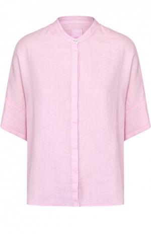 Льняная блуза свободного кроя с коротким рукавом 120% Lino. Цвет: светло-розовый