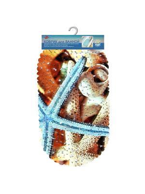 Коврик для ванной Море (диз.2) 69*39см МультиДом. Цвет: синий, светло-коричневый