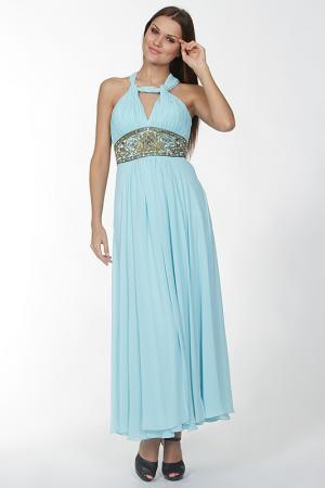 Длинное платье с перекрестием на спине Mona Kalin. Цвет: голубой