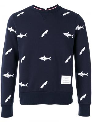 Fish print sweatshirt Thom Browne. Цвет: синий