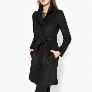 Пальто длинное с воротником-стойкой IKKS. Цвет: черный