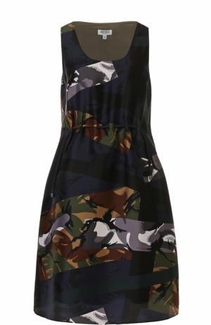 Приталенное шелковое платье с принтом Kenzo. Цвет: хаки