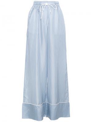 Пижамные брюки в полоску с высокой талией Sacai. Цвет: синий