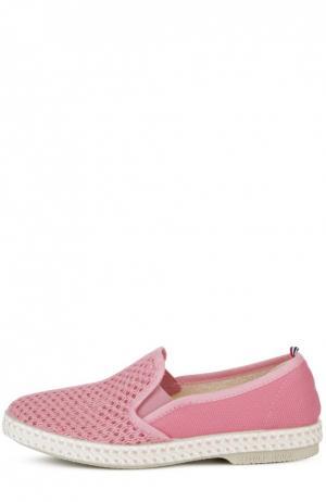 Слипоны с текстильной сеткой Rivieras Leisure Shoes. Цвет: розовый