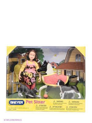 Набор Кукла  Лора с домашними животными Breyer. Цвет: желтый, коричневый