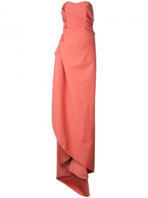 Длинное платье без бретелей Paule Ka. Цвет: розовый и фиолетовый