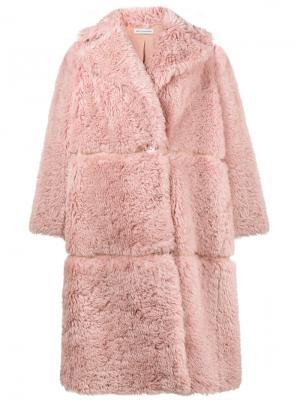 Свободное пальто миди Vika Gazinskaya. Цвет: розовый и фиолетовый
