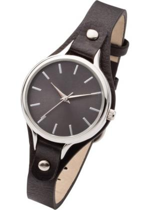 Часы на узком браслете (черный/серебристый) bonprix. Цвет: черный/серебристый