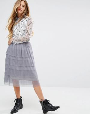Navy Сетчатая ярусная юбка миди London. Цвет: серый