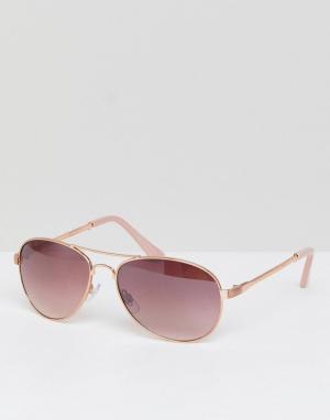 River Island Солнцезащитные очки-авиаторы с розовыми стеклами. Цвет: медный