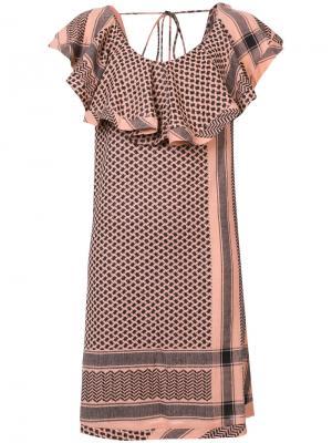 Платье с V-образным вырезом оборками Cecilie Copenhagen. Цвет: жёлтый и оранжевый