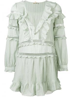 Платье Ziggy с декоративными складками For Love And Lemons. Цвет: зелёный