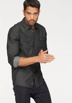 Джинсовая рубашка Otto. Цвет: черный