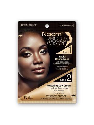 Комплексный уход за лицом: маска с эффектом сауны, 7 мл. и дневной крем коллагеном, 3 NAOMI Dead Sea Cosmetics. Цвет: черный