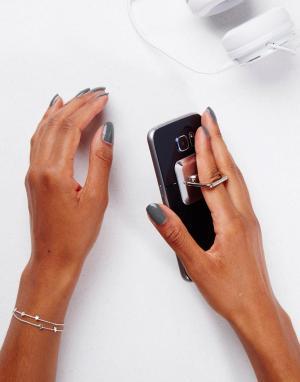 SIGNATURE Клейкая подставка для телефона. Цвет: серебряный