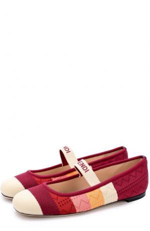 Текстильные балетки с ремешком Fendi. Цвет: бордовый