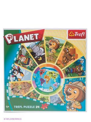 Пазл Планета 24 детали Trefl. Цвет: синий, зеленый, салатовый, коричневый, фиолетовый, красный, желтый