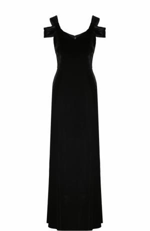 Бархатное платье-макси с V-образным вырезом St. John. Цвет: черный
