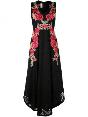 Кружевное платье с цветочной вышивкой Antonio Marras. Цвет: чёрный