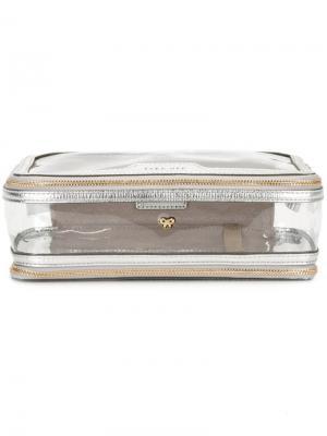 Прозрачный клатч Anya Hindmarch. Цвет: металлический