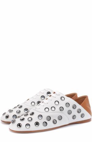Кожаные ботинки с кристаллами и мягким задником Acne Studios. Цвет: белый