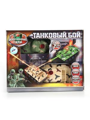 Набор из 2-х танков Играем Вместе Танковый бой р/у свет+звук.. Цвет: зеленый, бежевый, коричневый