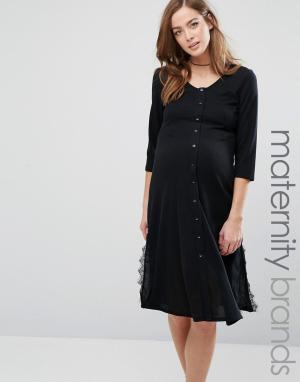 Bluebelle Maternity Чайное платье для беременных с кружевными вставками по бокам. Цвет: черный