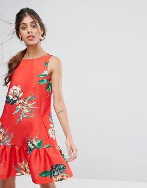 Closet London Платье А-силуэта с цветочным принтом и баской. Цвет: мульти