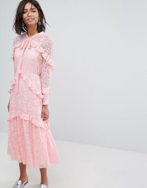 Sister jane Кружевное платье миди. Цвет: розовый