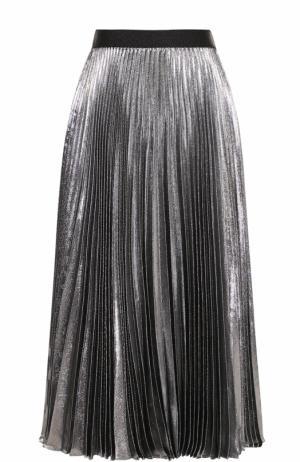 Плиссированная шелковая юбка с металлизированной отделкой Christopher Kane. Цвет: серебряный