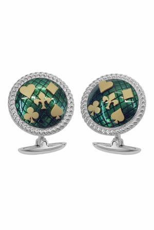 Серебряные запонки «Игра» Gourji. Цвет: зеленый