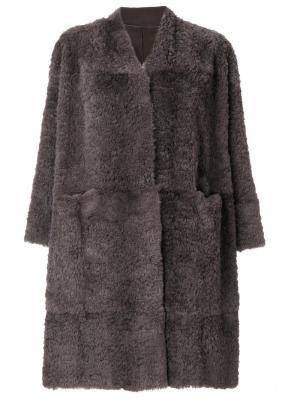 Прямое пальто Salvatore Santoro. Цвет: коричневый