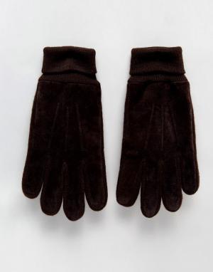 Boardmans Замшевые перчатки. Цвет: коричневый