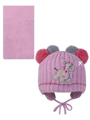 Шапка, шарф Pro-han. Цвет: розовый, серый, малиновый