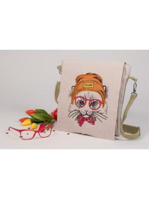 Набор для шитья и вышивания текстильная сумка-планшет Хипстер Матренин Посад. Цвет: серый, бежевый, желтый