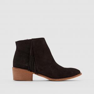 Ботинки кожаные с бахромой La Redoute Collections. Цвет: серо-коричневый,черный