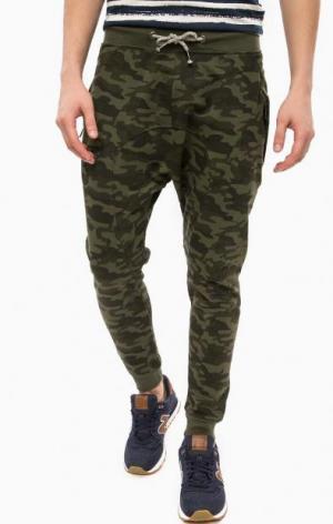Камуфляжные брюки из хлопка с манжетами ALCOTT. Цвет: хаки