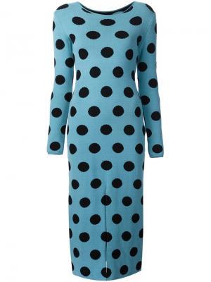 Трикотажное платье в горох Natasha Zinko. Цвет: синий