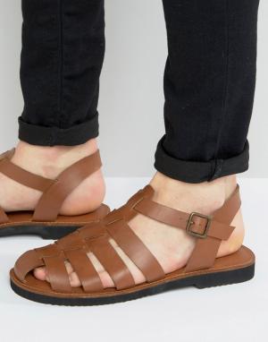 KG Kurt Geiger Светло-коричневые кожаные сандалии с ремешками By. Цвет: рыжий