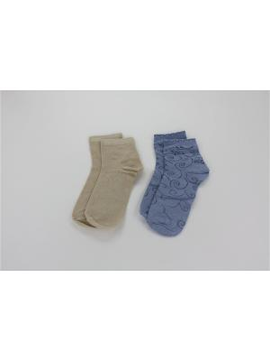 Носки, 2 пары Гамма. Цвет: голубой, бежевый