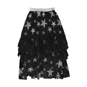 Юбка из тюля со звездами и воланами SISTER JANE. Цвет: черный