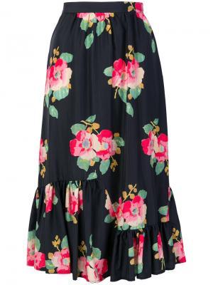 Юбка с цветочным принтом Manoush. Цвет: чёрный
