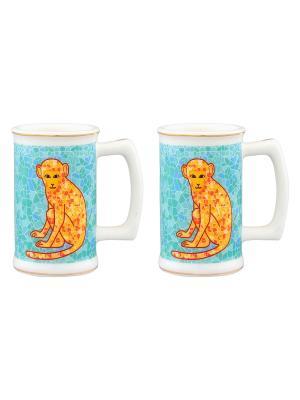 Набор из двух вазочек под зубочистки Обезьянки на удачу бирюзовом Elan Gallery. Цвет: бирюзовый, оранжевый