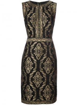 Embroidered fitted dress Tadashi Shoji. Цвет: чёрный