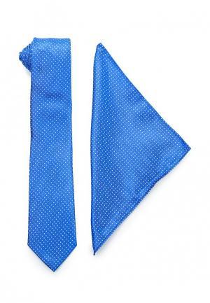Комплект галстук и платок Piazza Italia. Цвет: синий