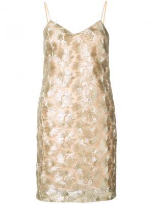 Короткое вышитое платье Trina Turk. Цвет: металлический