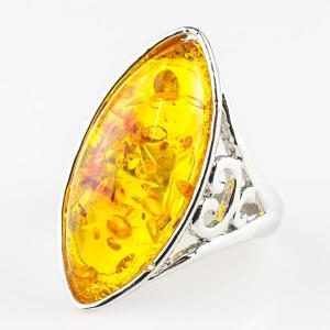 Перстень Люсия им. янтаря, арт. кп-4639 Бусики-Колечки. Цвет: желтый