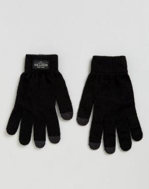 Schott Черные трикотажные перчатки. Цвет: черный