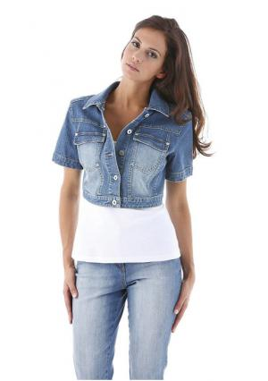 Джинсовая куртка Aniston. Цвет: синий потертый